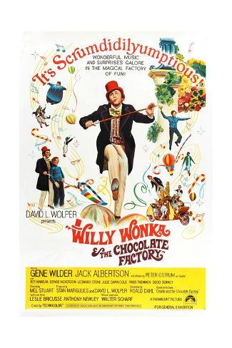 Willy Wonka and the Chocolate Factory, Gene Wilder (Center), 1971 Giclee-trykk