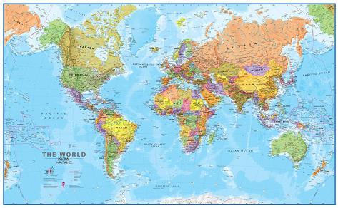World MegaMap 1:20 Wall Map, Laminated Educational Poster Lamineret plakat