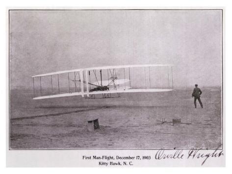 Wright Brothers Flight at Kitty Hawk Giclee-trykk