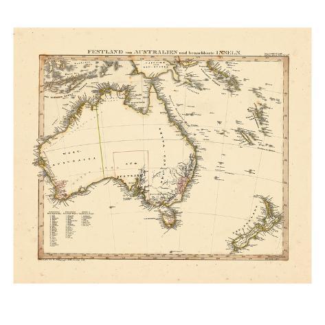 Landkarte Australien Poster : 1841 landkarte von australien neuseeland gicl e druck bei ~ Whattoseeinmadrid.com Haus und Dekorationen