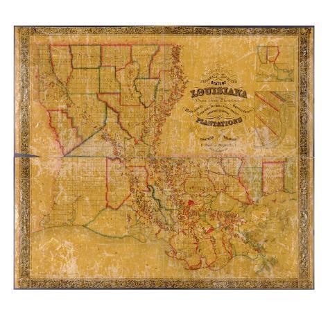 1848 louisiana bundesstaaten landkarte mit grundbesitzernamen louisiana vereinigte staaten. Black Bedroom Furniture Sets. Home Design Ideas