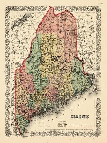 1855 maine bundesstaats landkarte maine vereinigte staaten usa gicl e druck bei. Black Bedroom Furniture Sets. Home Design Ideas