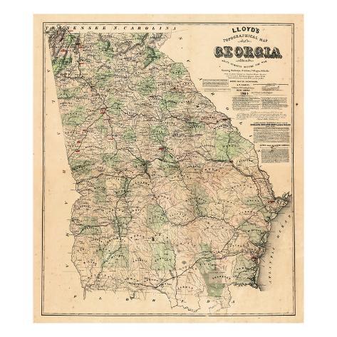 1864 georgia bundesstaats landkarte georgia vereinigte staaten usa gicl e druck bei. Black Bedroom Furniture Sets. Home Design Ideas