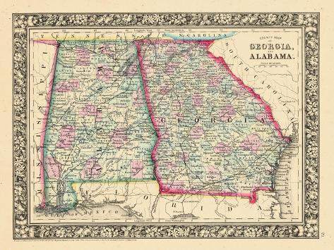 1864 landkarte von georgia und alabama vereinigte staaten usa gicl e druck bei. Black Bedroom Furniture Sets. Home Design Ideas