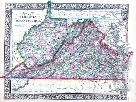 1864 landkarte von virginia und west virginia vereinigte staaten usa gicl e druck bei. Black Bedroom Furniture Sets. Home Design Ideas