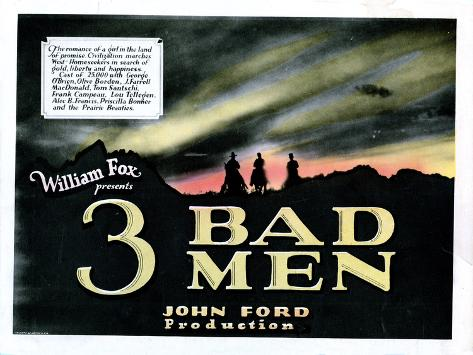 3 Bad Men, Title Card, 1926 Poster