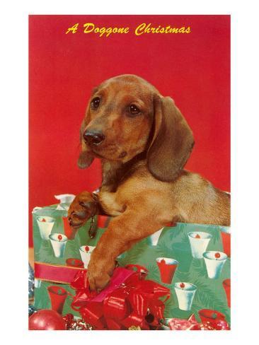 A Doggone Christmas, Dachshund Kunstdruck