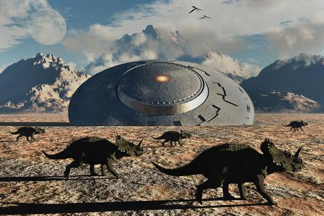 A Herd of Dinosaurs Walk Past a Flying Saucer Lodged into the Ground Kunstdruck