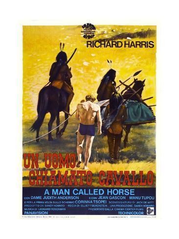 A MAN CALLED HORSE, (aka UN UOMO CHIAMATO CAVALLO), Italian poster, center: Richard Harris, 1970 Kunstdruck