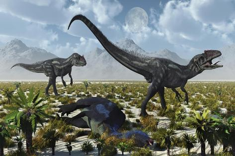 A Pair of Allosaurus Dinosaurs Kill a Camptosaurus Dinosaur Kunstdruck