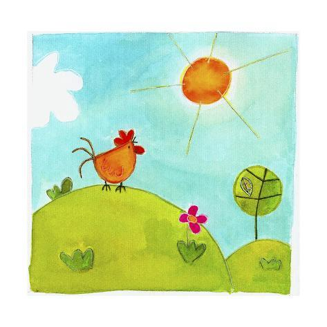 A Rooster Crowing on a Hill Giclée-Druck