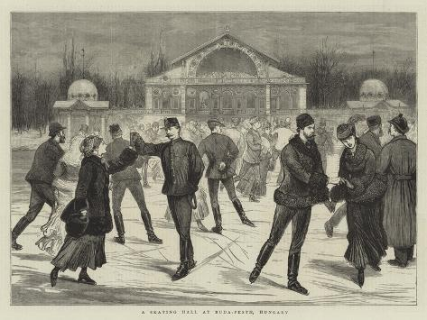 A Skating Hall at Buda-Pesth, Hungary Giclée-Druck