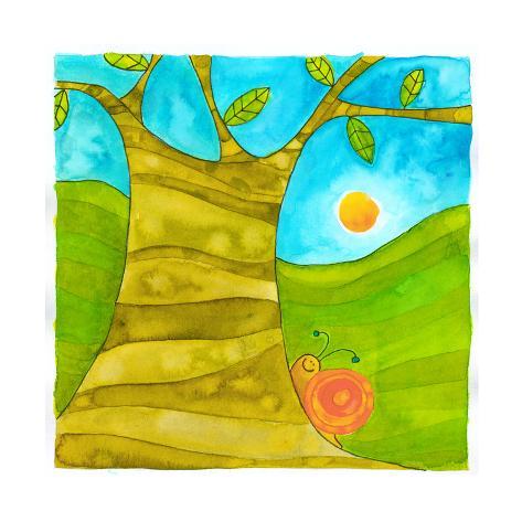 A Snail Crawling Along a Tree Giclée-Druck