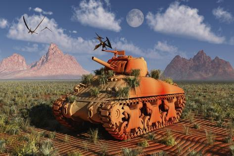 A World War Ii American Sherman Tank Out of Context and Time Kunstdruck
