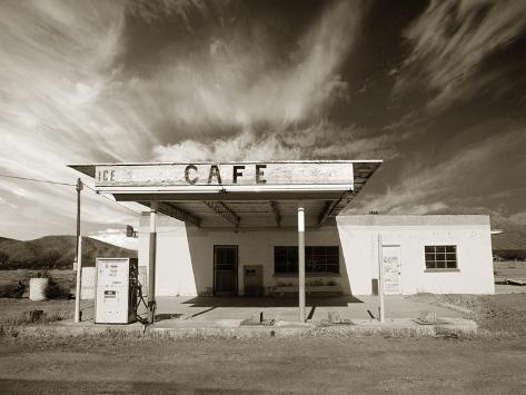 Tankstelle und Café Fotografie-Druck