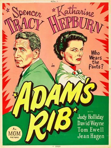 Adam's Rib, Spencer Tracy, Katharine Hepburn, 1949 Kunstdruck
