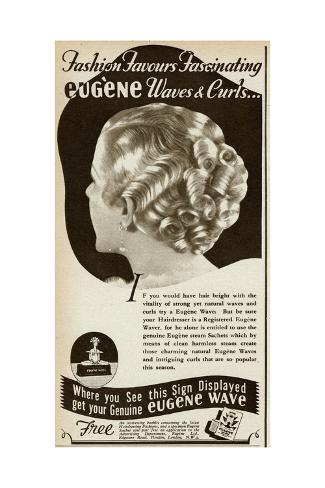 Advert for Eugene Waves and Curls 1936 Giclée-Druck
