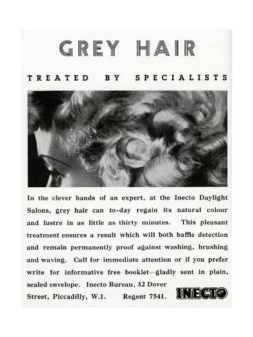 Advert for Inecto Salons: Unwanted Grey Hair 1936 Giclée-Druck