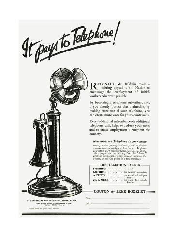 Advert for Using a Telephone Giclée-Druck