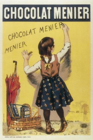 Advertisement Sign for 'Chocolat Menier', 1893 Kunstdruck