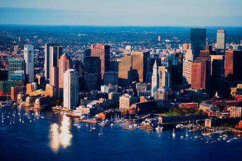 AERIAL morning view of Boston Skyline and Financial Districtas sunlight reflects off windows, Bo... Fotografie-Druck