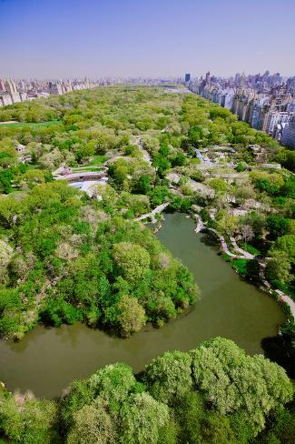Aerial view of Central Park in spring near Columbus Circle in Manhattan, New York City, New York Fotografie-Druck