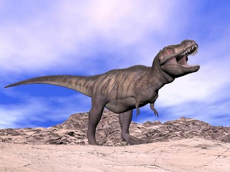 Aggressive Tyrannosaurus Rex Dinosaur in the Desert Kunstdruck