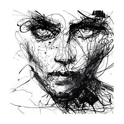 In Trouble, She Will - abstraktes Portrait, schwarz/weiss Kunstdruck