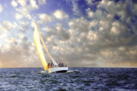 Sailing at Sunrise I Fotografie-Druck
