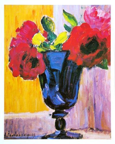 rosen in einer blauen vase kunstdrucke von alexej von jawlensky bei. Black Bedroom Furniture Sets. Home Design Ideas