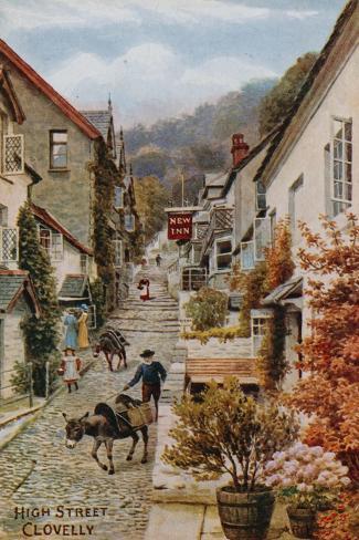 High Street, Clovelly Giclée-Druck