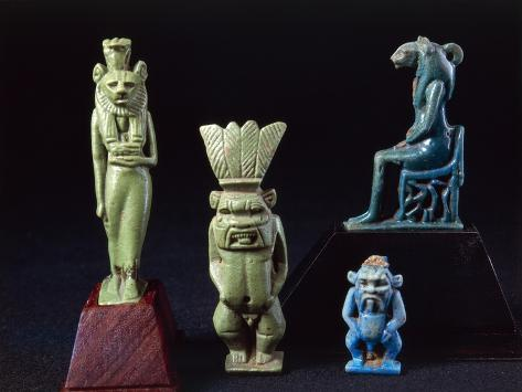 Amulets of Deities Sekhmet and Bes, Enamelled Clay Giclée-Druck