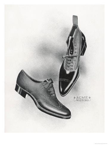An Example of a Front Lacing Shoe and Boot with a Contrasting Upper Which May be Composed of Canvas Giclée-Druck