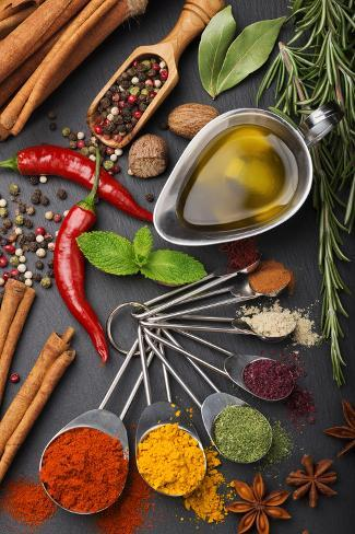 Still Life with Spices and Olive Oil Fotografie-Druck