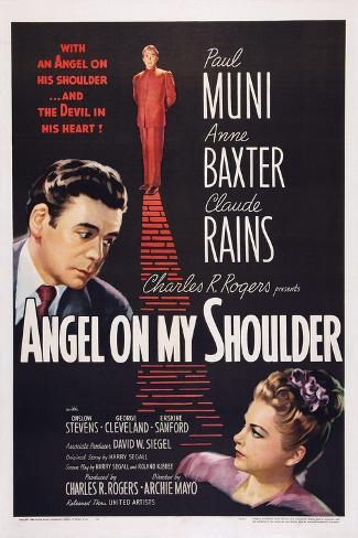 Angel on My Shoulder, from Left: Paul Muni, Claude Rains, Anne Baxter, 1946 Kunstdruck