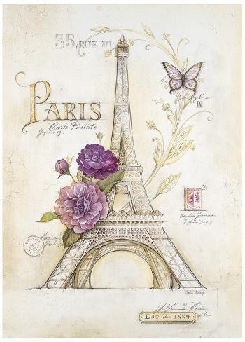 Eiffel Tower Roses Kunstdruck