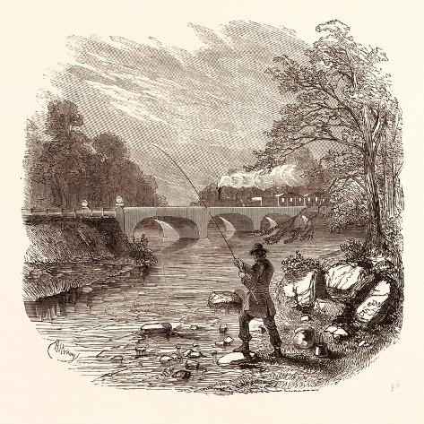 Angling, Fishing, Water, Fish, Fisherman, Bait, River, Angler, Man, Fisher Giclée-Druck