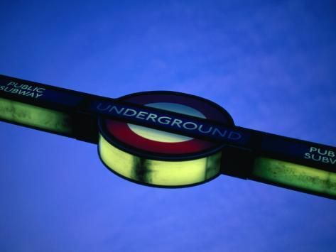 Illuminated Sign for London Underground, or Tube, London, England Fotografie-Druck