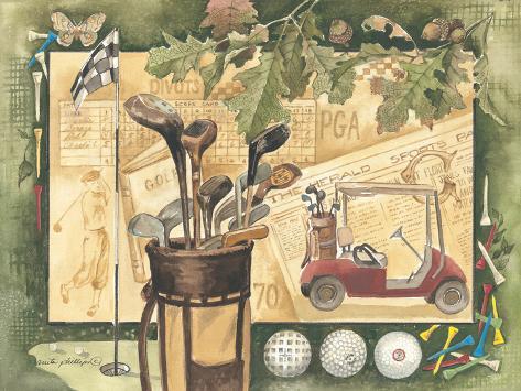Golfcart Kunstdruck