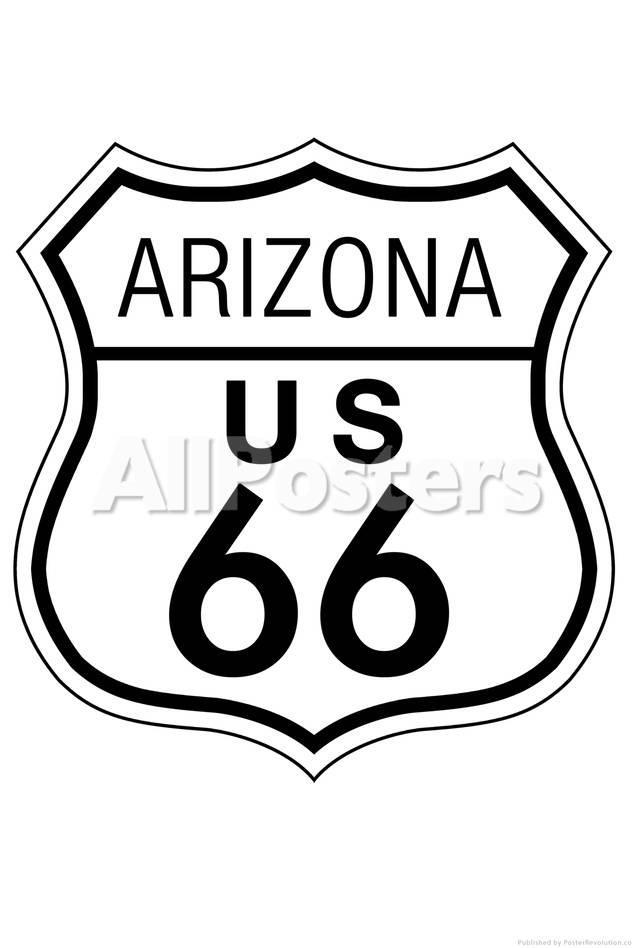 Arizona Route 66 Sign Art Poster Print Poster Bij Allposters