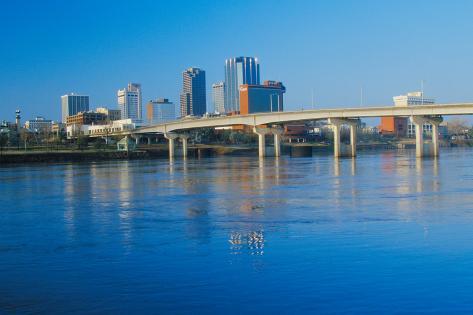 Arkansas River and skyline in Little Rock, Arkansas Fotografie-Druck