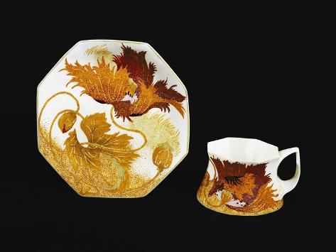 Art Nouveau Style Cup and Saucer, 1900, Porcelain, Rozenberg Manufacture, Hague, Netherlands Giclée-Druck