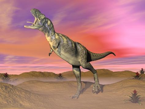Aucasaurus Dinosaur Roaring in the Desert by Sunset Kunstdruck