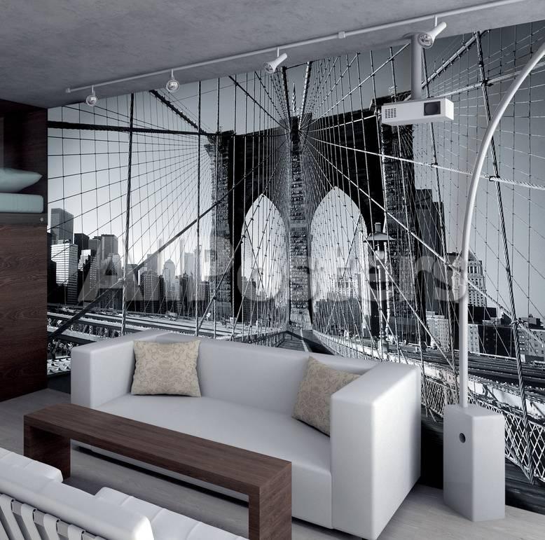 Auf der Brooklyn Bridge New York Schwarz Weiss Fototapete ...