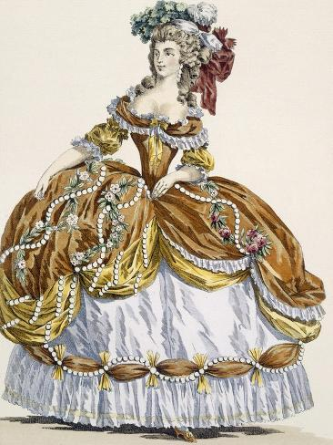 Grand Court Dress in New Style, Engraved by Dupin, Plate 291 Giclée-Druck