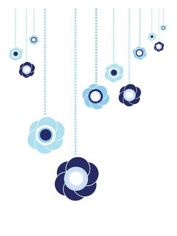 Blue Hanging Flowers Kunstdruck