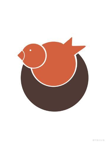 Orange Bird Nest Kunstdruck