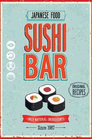 Vintage Sushi Bar Poster Plastikschild