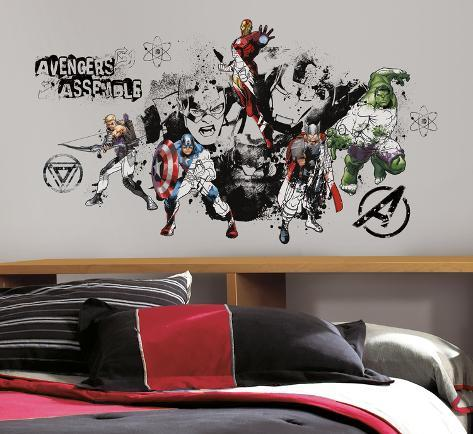 Avengers Assemble Black & White Graphic Peel & Stick Wall Decals Muursticker