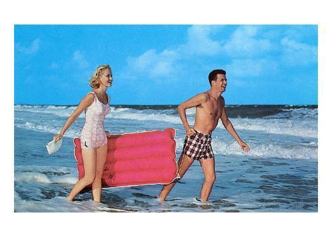 Beach-goers with Raft, Retro Kunstdruck